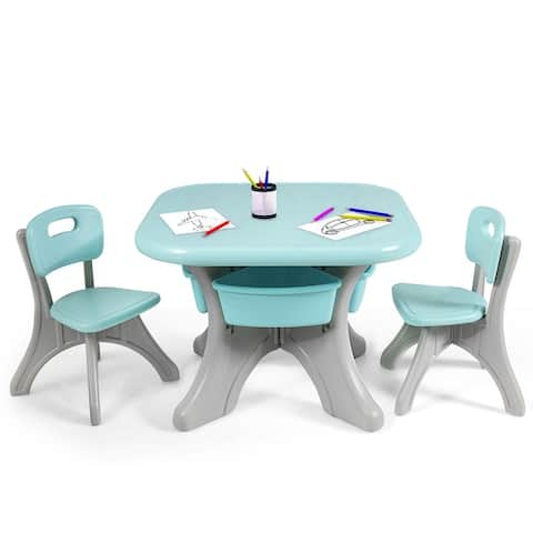 Kids Table and 2 Chair Set Children Activity Art Table Set
