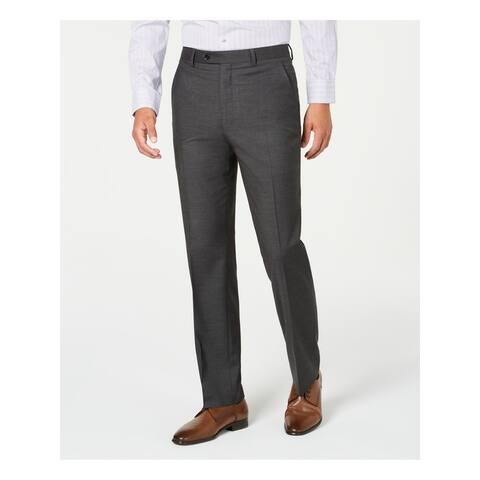 ALFANI Mens Gray Stretch Check Slim Fit Stretch Pants 38W/ 32L - 38W/ 32L