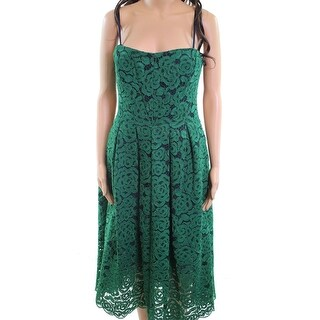 Vera Wang NEW Green Womens Size 2 Lace Pleated Strapless Sheath Dress