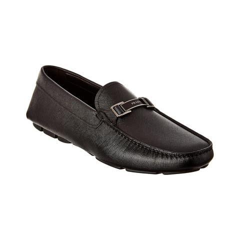 Prada Logo Saffiano Leather Loafer