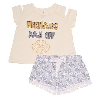 "Little Girls Ivory ""Mermaids Day Off"" Scale Print 2 Pc Shorts Pajama Set"