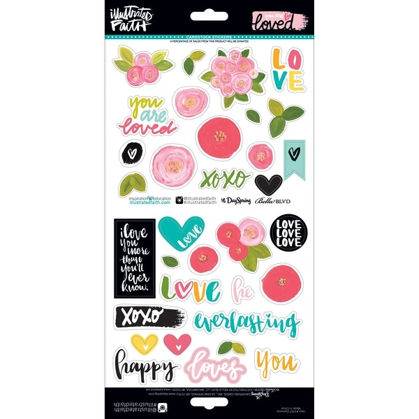 """Illustrated Faith You Are Loved Stickers 12""""X12""""-Elements"""