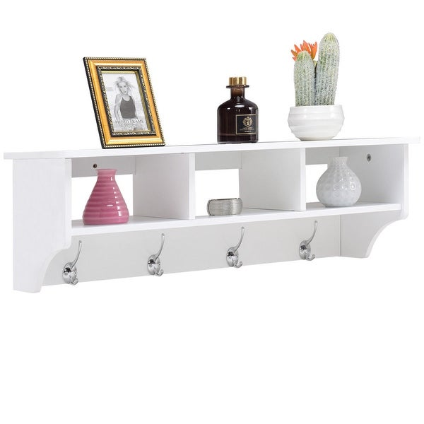 Shop Costway Wall Mount Coat Rack Storage Shelf Cubby Organizer