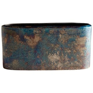 "Cyan Design 08963  Inscribed 11-1/4"" Wide Aluminum Vase - Bronze Patina"
