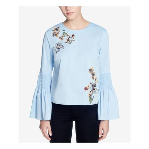 CATHERINE MALANDRINO Womens Light Blue Ruffled Floral Bell Sleeve Jewel Neck Tunic Top Size: S