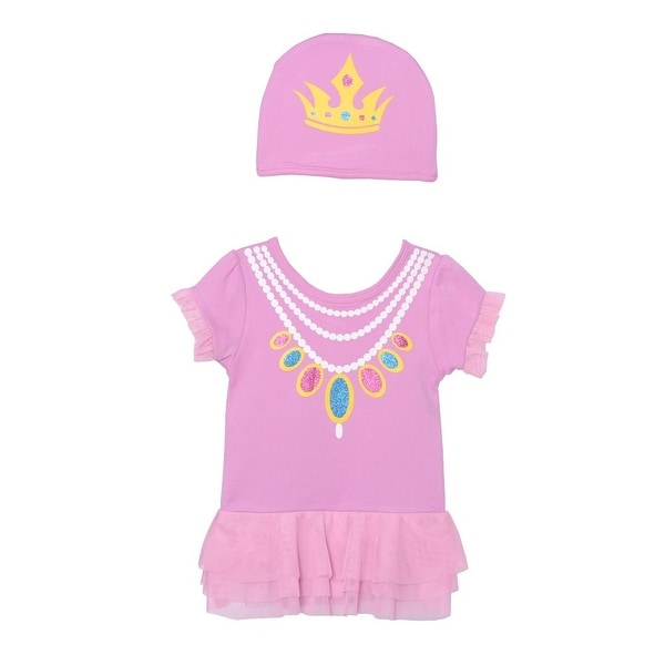 Sozo Baby Girls Pink Princess Print Cotton Short Sleeve Hat Bodysuit Set 3M
