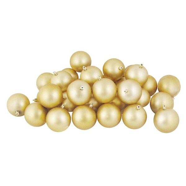 """180ct Matte Champagne Gold Shatterproof Christmas Ball Ornaments 2.5"""" (60mm)"""
