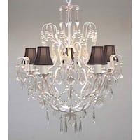 Swarovski Elements Crystal Trimmed Chandelier Lighting Wrought Iron & Crystal Chandelier Lighting & Black Sha