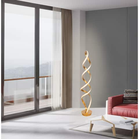 Infinito 78W Unique Modern LED Floor Lamp, Anodized Gold - 63