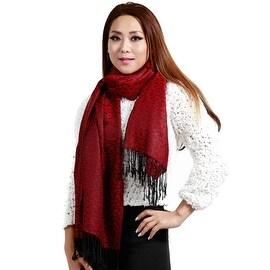 "Jacquard Knit Pashmina Wool Silk Fashion Wrap Scarf, 27""x70"", Burgundy"