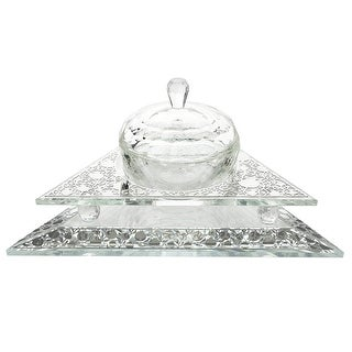 """Crystal Honey Dish Triangle Shape With  Pomegranate Silver  3 Pc  6 1/2x 5 1/2 w X1 1/2 H """""""