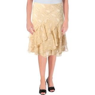 Lauren Ralph Lauren Womens Tiered Skirt Chiffon Snake Print