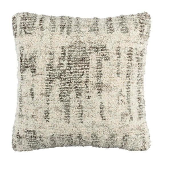 "20"" Gray and Cream Decorative Throw Pillow – Down Filler"
