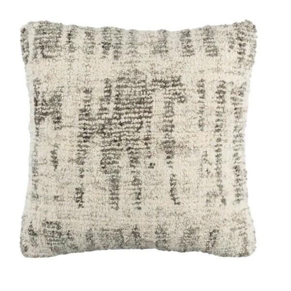 "20"" Gray and Cream Decorative Throw Pillow"
