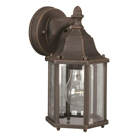 """Forte Lighting 1742-01 10"""" Tall Outdoor Wall Sconce with Beveled Glass - Painted Rust"""