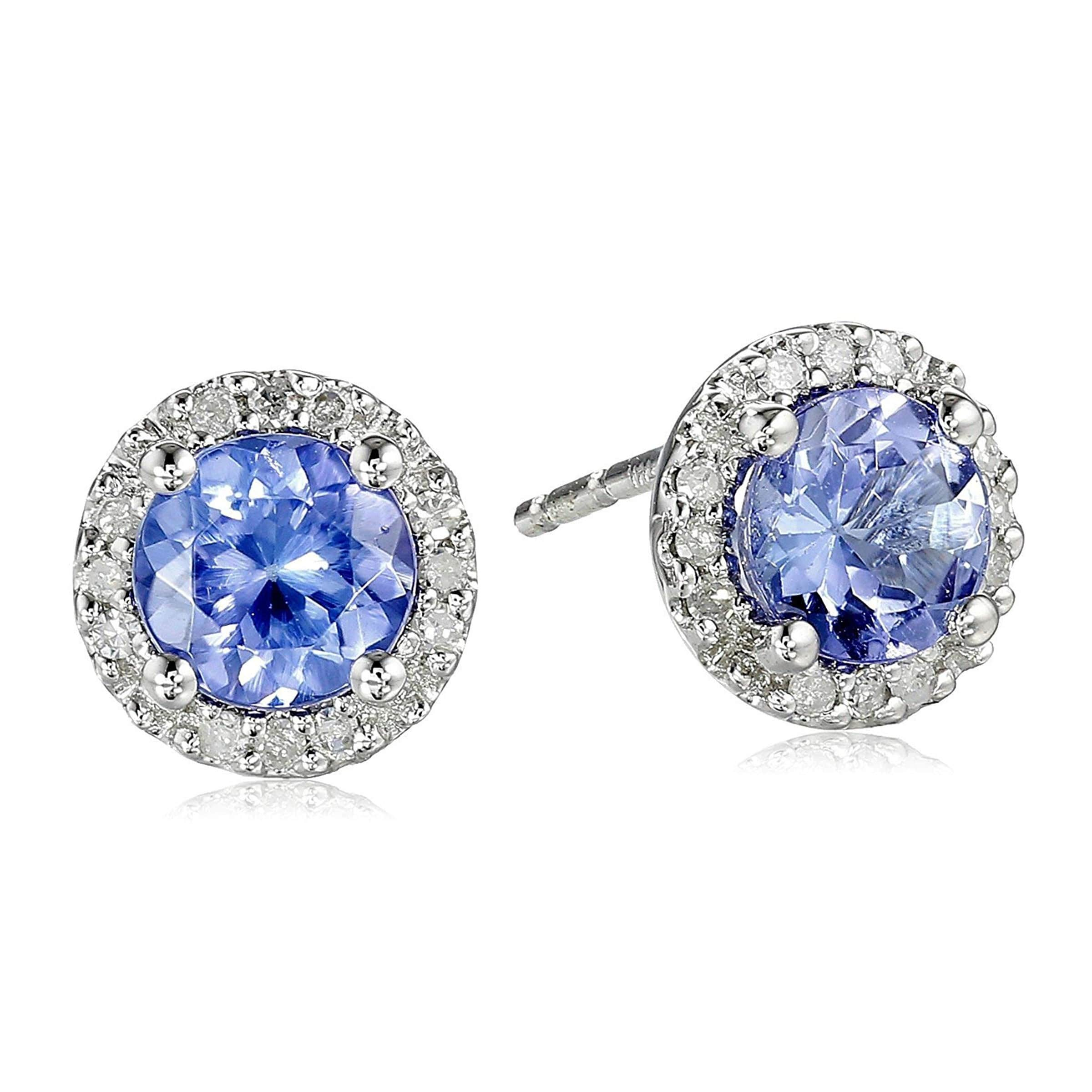 1 1//4 ct Natural Tanzanite /& White Topaz Halo Stud Earrings in 10K White Gold
