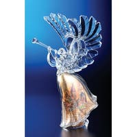 "Pack of 2 Icy Crystal Religious Christmas Gold Scene Angel Figures 14.8"" - CLEAR"