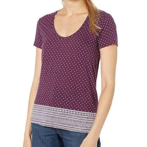 Lucky Brand Womens Top Purple Size Small S Border-Print Scoop Neck