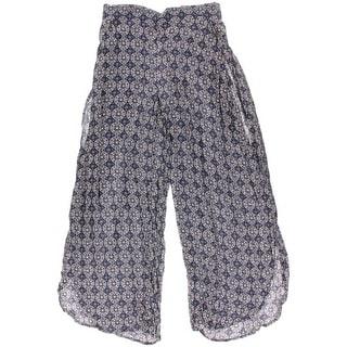 Vanilla Star Womens Printed Side Slits Wide Leg Pants - M