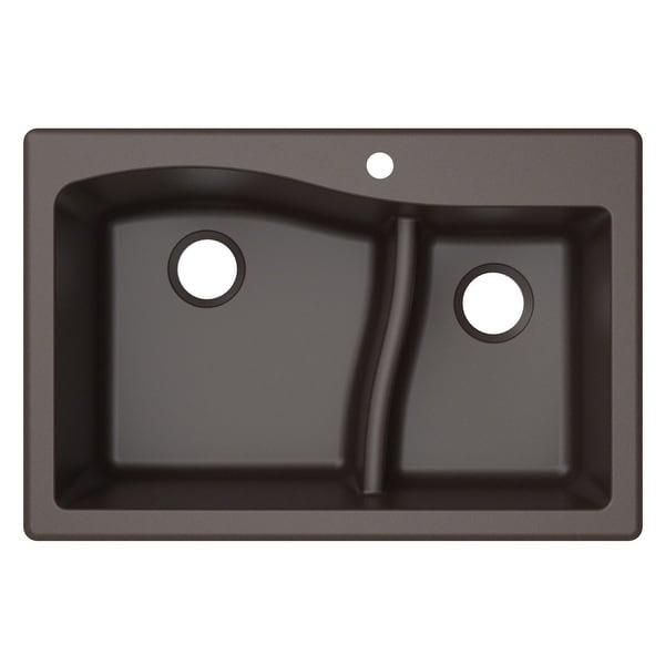 KRAUS Quarza Granite 33 inch 60/40 Undermount Drop-in Kitchen Sink. Opens flyout.