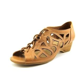 Bella Vita Pixie Women WW Open Toe Leather Tan Wedge Sandal