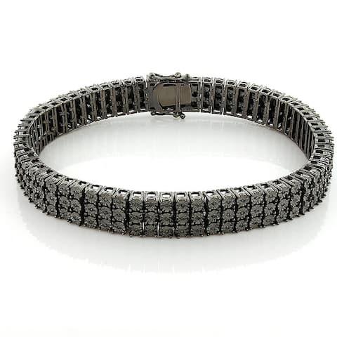 Mens 3 Row Round Diamond Bracelet 0.5ctw in Sterling Silver by Luxurman