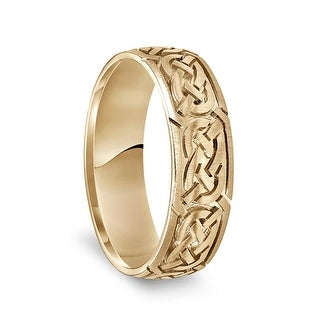 14k Yellow Gold Engraved Celtic Knot Pattern Men's Wedding Band with Satin Finish - 6.5mm