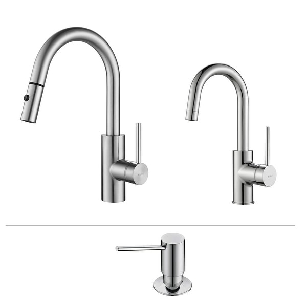 Kraus 3-in-1 Oletto Pulldown Kitchen Faucet, Bar Faucet and Dispenser
