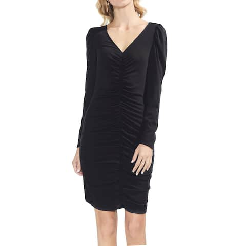 Vince Camuto Womens Puff-Sleeve Ruched Dress Medium Rich Black