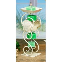 Pack of 4 White Metal Sea Shell Decorative Rope Candle Holders 12""