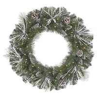 "24"" Pre-Lit Flocked and Glittered Mixed Pine Christmas Wreath - Clear Lights - green"