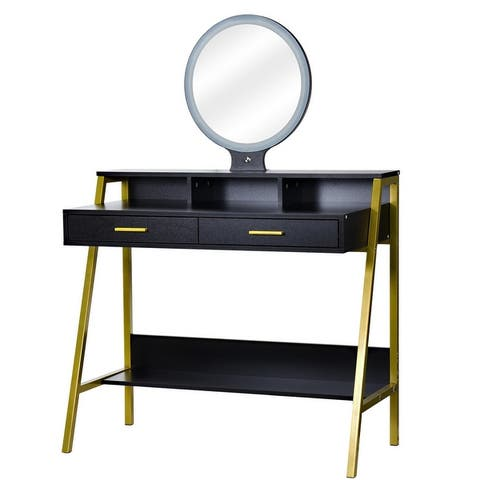 LED 3-Color Touch Round Mirror With 2 Drawers Steel Frame Dressing Table