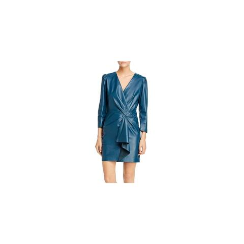 REBECCA TAYLOR Teal 3/4 Sleeve Short Wrap Dress Dress Size 0