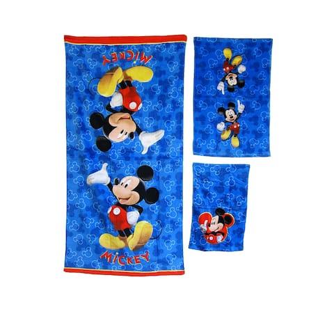 DISNEY KIDS BATHROOM BATH TOWEL 3PC SET CARTOONS CHARACTERS Mickey Mouse