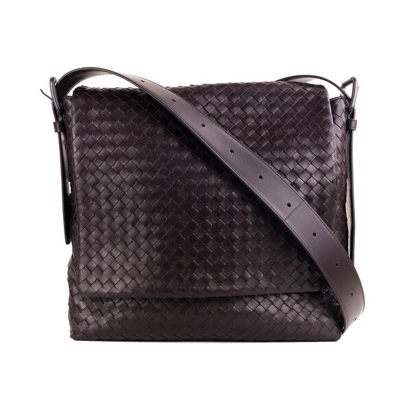 7c25d72f5c Bottega Veneta Dark Brown Prusse Intrecciato Calf Leather Messenger Bag