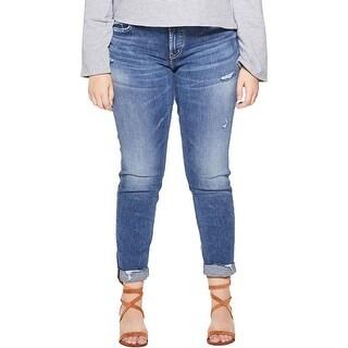 Silver Jeans Co. Womens Plus Sam Boyfriend Jeans Slim Leg Destroyed
