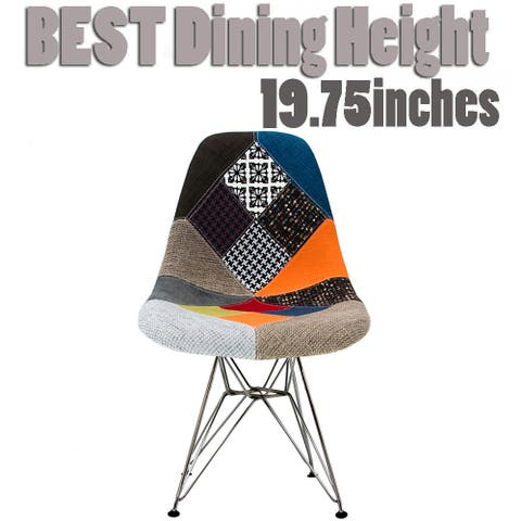 2xhome Modern Accent Designer Patchwork Fabric Pattern Dining Textured Sam Chair with Eiffel Chrome Wire Steel Base