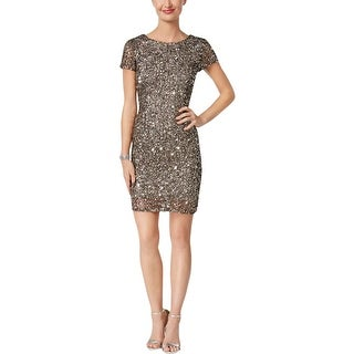 Adrianna Papell Womens Petites Cocktail Dress Mesh Embellished