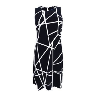 Tommy Hilfiger Women's Geo-Print Shift Dress - Black/Ivory
