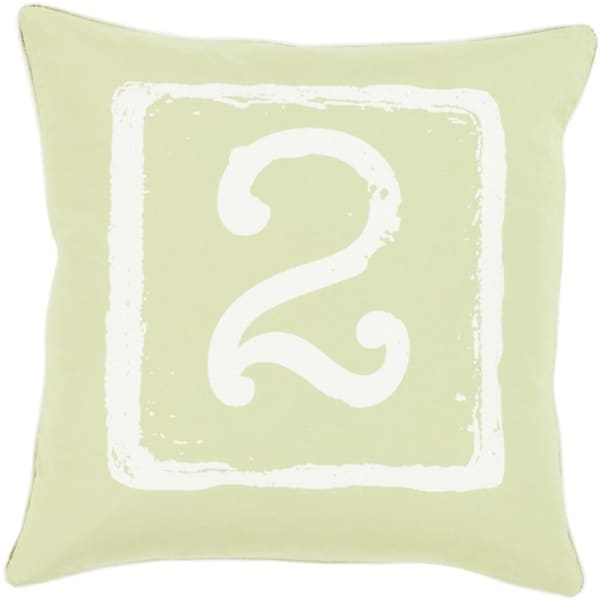 "18"" Cream White and Lime Green ""2"" Big Kid Blocks Decorative Throw PIllow-Down Filler"