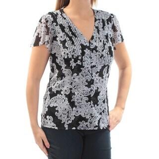 Womens Black Paisley Short Sleeve V Neck T-Shirt Top Size XXL