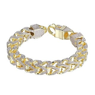 Thick Franco Link Bracelet 11mm Full Iced Out Hip Hop Custom Style 14k Gold Tone