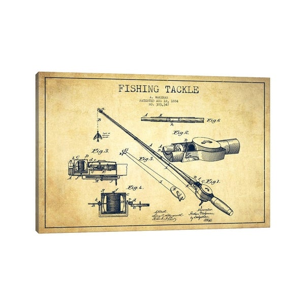 """iCanvas """"Fishing Tackle Vintage Patent Blueprint"""" by Aged Pixel Canvas Print. Opens flyout."""