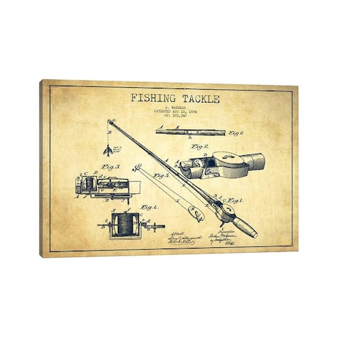 """iCanvas """"Fishing Tackle Vintage Patent Blueprint"""" by Aged Pixel Canvas Print"""