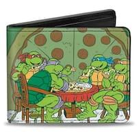 Classic Tmnt Ninja Turtles Pizza Party + Mutant Sized Hunger Green Black Bi Bi-Fold Wallet - One Size Fits most