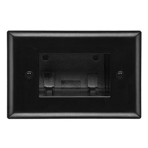 DataComm 45-0008-BK Recessed Easy Mount Low-Voltage Cable Wall Plate - Black