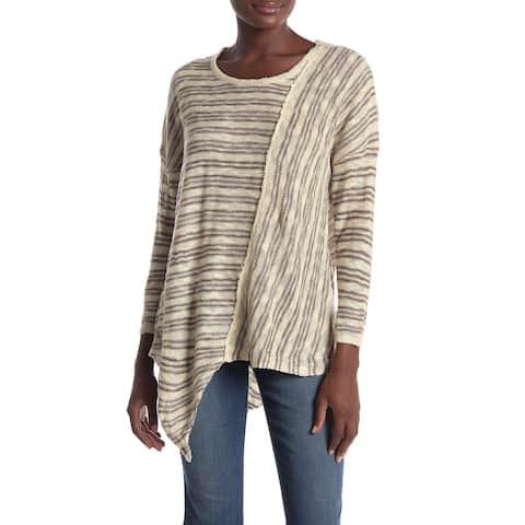 Democracy Womens Sweater Beige Brown Size Large L Asymmetrical Striped