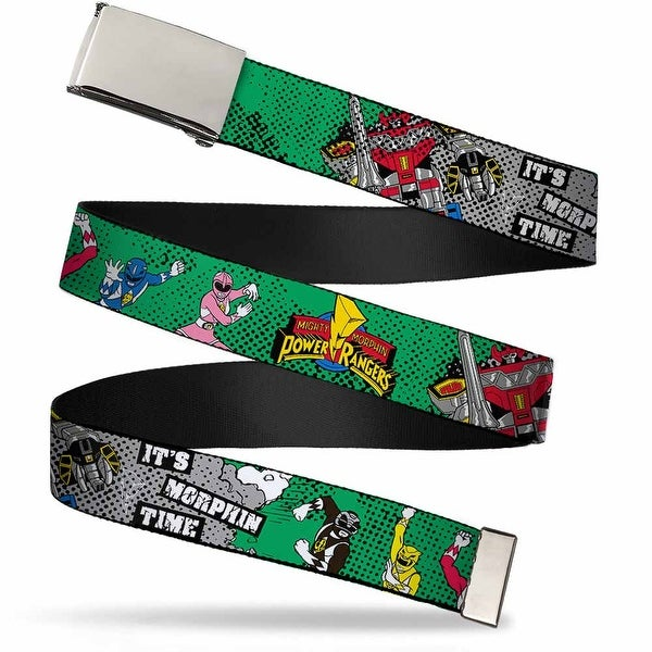 Blank Chrome Buckle Power Rangers In Action It's Morphin Time Green Web Belt