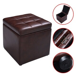 Costway 16''Cube Ottoman Pouffe Storage Box Lounge Seat Footstools with Hinge Top brown - Black