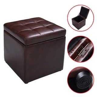 Costway 16 Cube Ottoman Pouffe Storage Box Lounge Seat Footstools With Hinge Top Brown